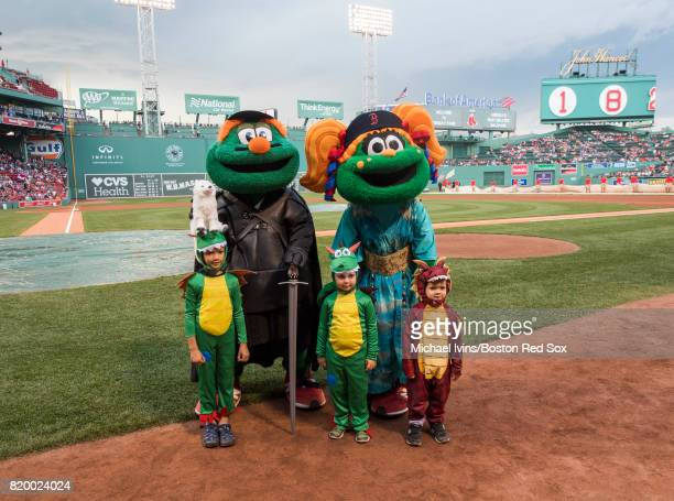 Boston Red Sox mascots Wally and Tessy dressed up as characters from Game of Thrones at Fenway Park on July 18 2017 in Boston Massachusetts
