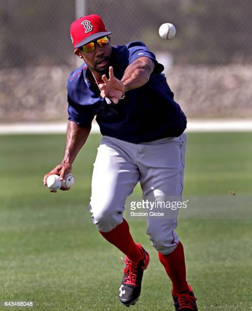 Boston Red Sox outfielder Chris Young works on a fielding drill on day six of Red Sox Spring Training at Jet Blue Park in Fort Myers FL on Feb 18 2017