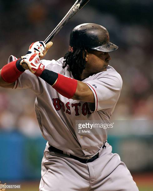 Boston Red Sox outfielder Manny Ramirez prepares for a pitch in Monday night's game against the Tampa Bay Devil Rays at Tropicana Field in St...