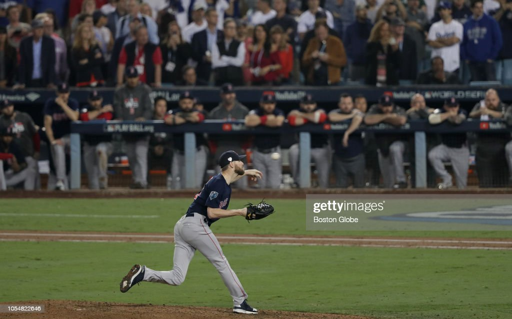 9c3126fd922 2018 World Series Game 5: Boston Red Sox Vs LA Dodgers at Dodger Stadium.  LOS ANGELES - OCTOBER 28: Boston Red Sox pitcher Chris Sale throws in the  ninth ...