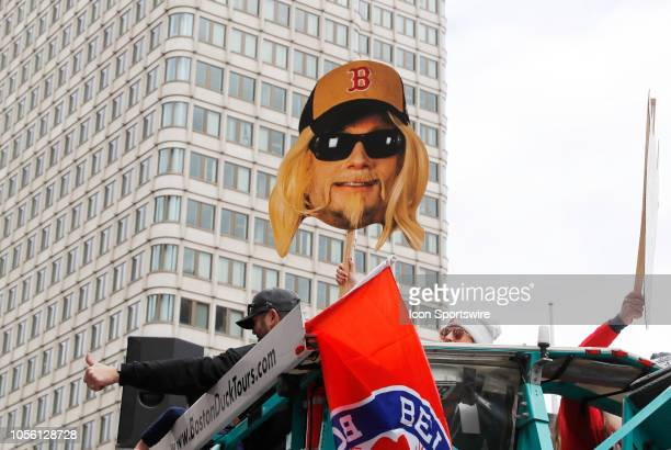 Boston Red Sox pitcher Craig Kimbrel's likeness during the Boston Red Sox World Series Victory Parade on October 31, 2018 through the streets of...