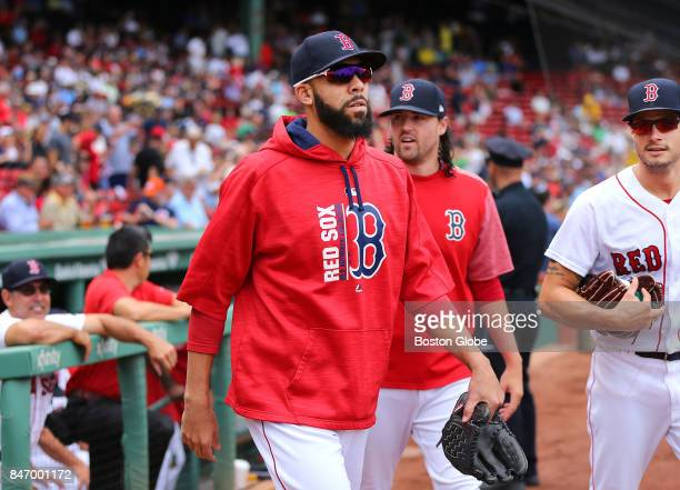 Boston Red Sox pitcher David Price walks to the bullpen from the dugout before the start of the game The Boston Red Sox host the Oakland Athletics in...