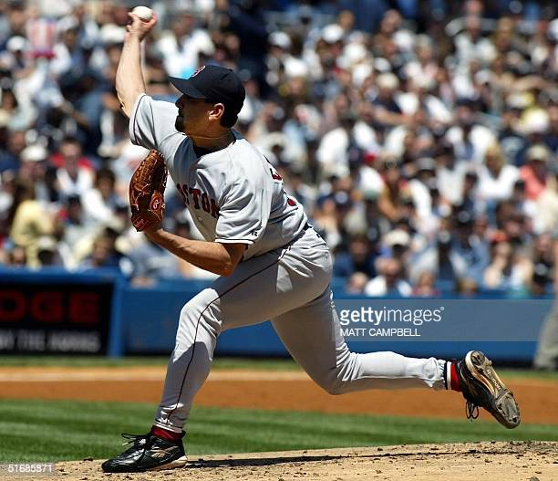 Boston Red Sox pitcher Frank Castillo throws against the New York Yankees in the first inning, 02 June 2002 at Yankee Stadium in the Bronx, NY. AFP...