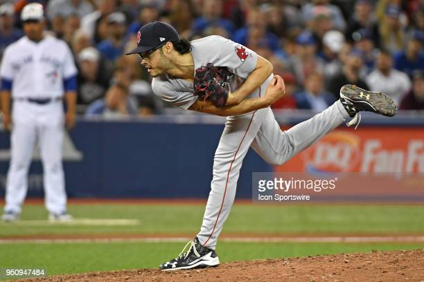 Boston Red Sox Pitcher Joe Kelly pitches during the regular season MLB game between the Boston Red Sox and Toronto Blue Jays on April 24 2018 at...