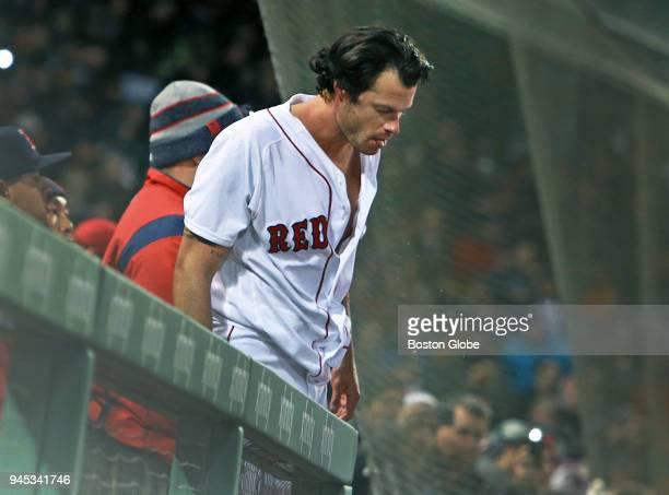 Boston Red Sox pitcher Joe Kelly spits out what appears to be blood after a fight with the Yankees' Tyler Austin in the seventh inning. The Boston...