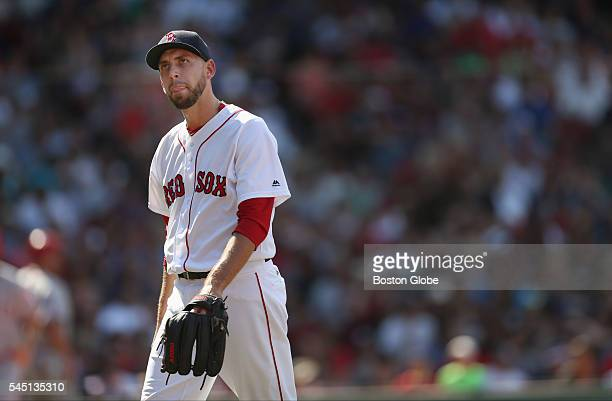 Boston Red Sox pitcher Matt Barnes walks off the field after the top of the sixth inning of a game against the Los Angeles Angels during a game at...