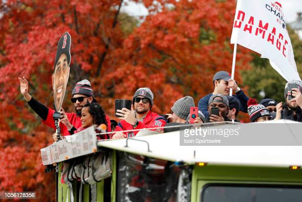 Boston Red Sox pitcher Nathan Eovaldi during the Boston Red Sox World Series Victory Parade on October 31, 2018 through the streets of Boston,...