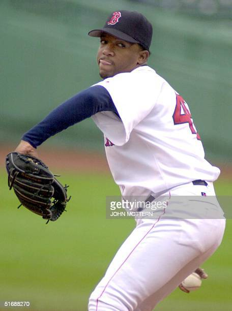 Boston Red Sox pitcher Pedro Martinez pitches in the second inning against Seattle Mariners 18 May 2002 at the Fenway Park in Boston Massachusetts...