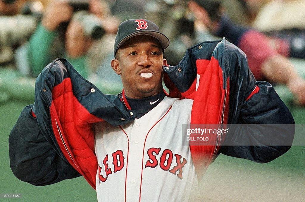 Boston Red Sox pitcher Pedro Martinez, stretches i : News Photo