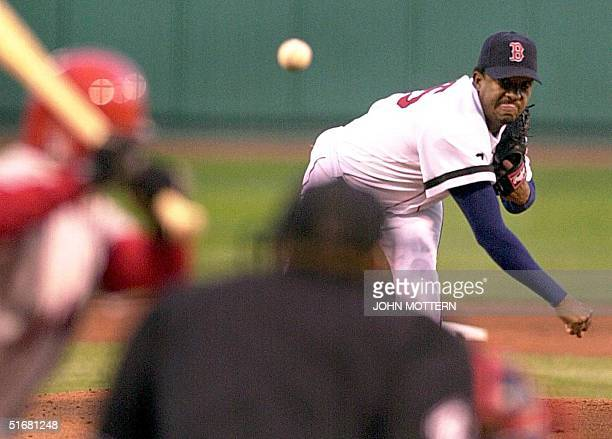 Boston Red Sox pitcher Pedro Martinez throws against the Anaheim Angels in the first inning at Fenway Park 23 August 2002 in Boston MA AFP PHOTO/JOHN...