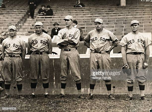 Boston Red Sox pitchers Fester, Carl Mays, Ernie Shore, Babe Ruth, and Dutch Leonard.