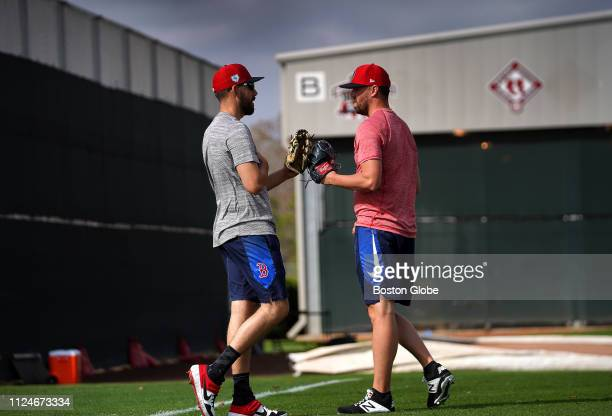 Boston Red Sox pitchers Matt Barnes and Heath Hembree are pictured at Jet Blue Park in Fort Myers FL on Feb 12 2019 Boston Red Sox pitchers and...