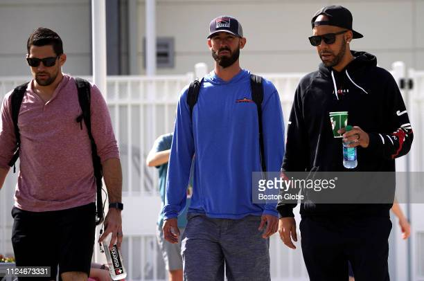 Boston Red Sox pitchers Nathan Eovaldi Rick Porcello and David Price leave the complex after their morning physicals at Jet Blue Park in Fort Myers...