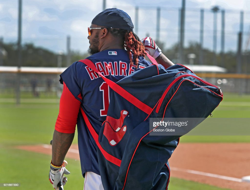 Boston Red Sox player Hanley Ramirez carries his equipment bag during spring training at the Player Development Complex at Jet Blue Park in Fort Myers, FL on Feb. 20, 2018.