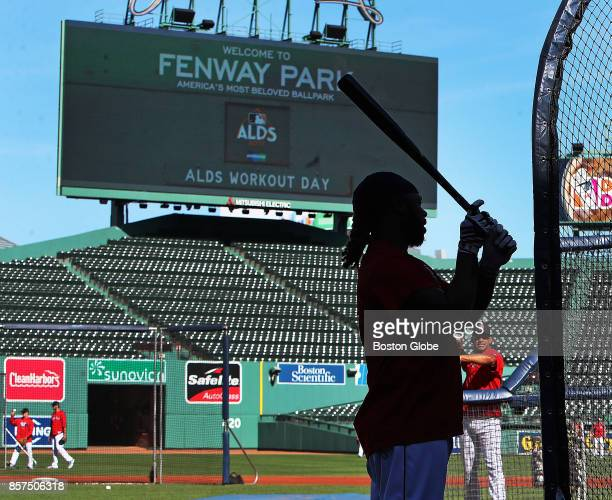 Boston Red Sox player Hanley Ramirez waits for his turn in the batting cage during a practice session at Fenway Park in Boston as the team prepares...