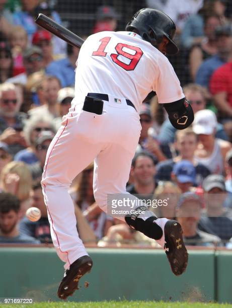 Boston Red Sox player Jackie Bradley Jr is hit by a pitch during the sixth inning The Boston Red Sox host the Chicago White Sox in a regular season...