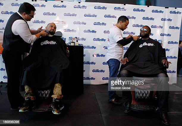 Boston Red Sox player Shane Victorino and David Ortiz have their beards shaved off at Gillette World Shaving Headquarters in Boston on November 4...