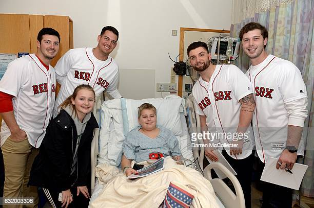 Boston Red Sox players Chandler Shepherd Kyle Martin Sam Travis and Ben Taylor visit Harrison and Charlotte at Boston Children's Hospital on January...