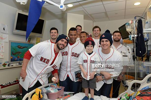 Boston Red Sox players Chandler Shepherd, Robby Scott, Rafael Devers, Kyle Martin, Luis Ysla, Ben Taylor, Edgar Olmos, and Sam Travis visit Ari at...