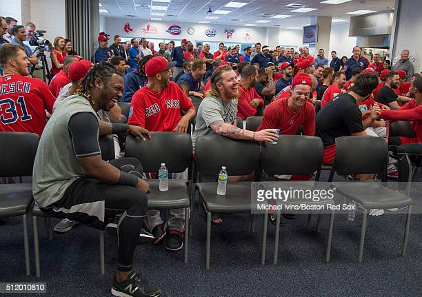 Boston Red Sox players from left Hanley Ramirez David Price Robbie Ross #Jr #28 and Clay Buchholz participate in a team meeting before the first full...