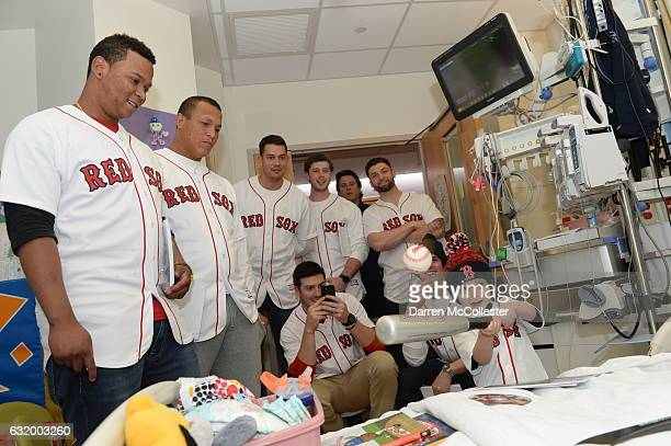Boston Red Sox players Rafael Devers, Luis Ysla, Chandler Shepherd, Kyle Martin, Ben Taylor, Sam Travis, Edgar Olmos visit Ari at Boston Children's...