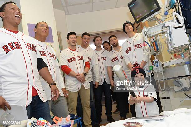 Boston Red Sox players Rafael Devers Luis Ysla Chandler Shepherd Kyle Martin Ben Taylor Sam Travis Edgar Olmos visit Ari at Boston Children's...