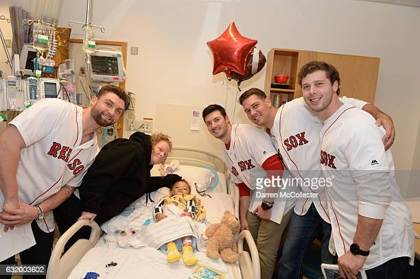 Boston Red Sox players Sam Travis Chandler Shepherd Kyle Martin and Ben Taylor visit Torren and Mom at Boston Children's Hospital on January 18 2017...