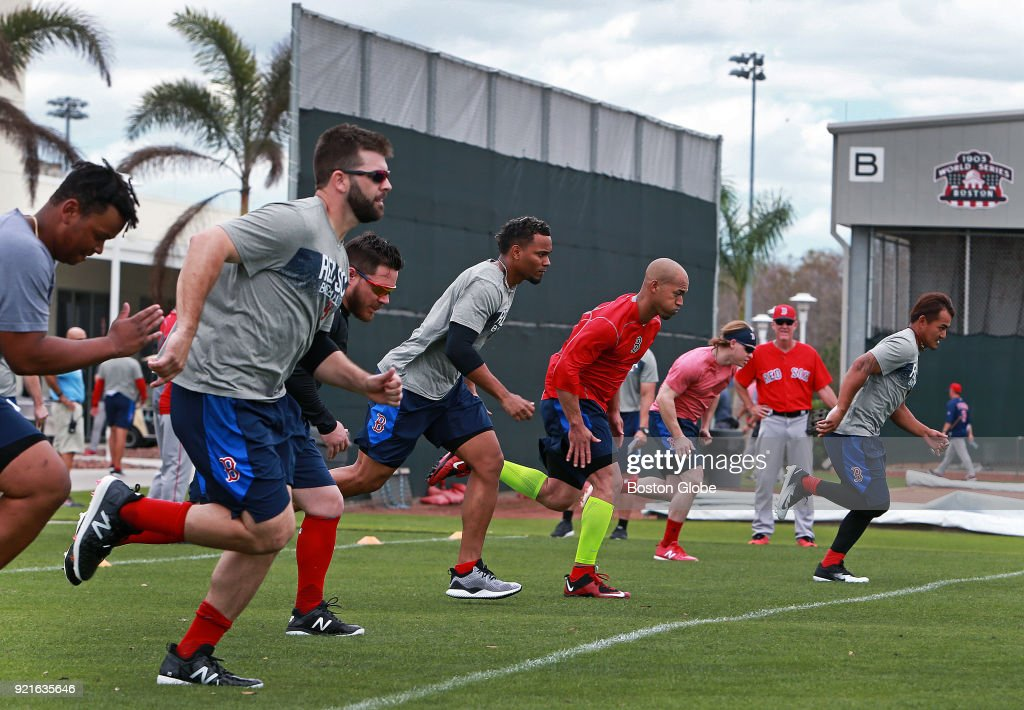 Boston Red Sox position players end their day with a series of wind sprints on the day of the first full squad spring training workout at the Player Development Complex at Jet Blue Park in Fort Myers, FL on Feb. 19, 2018.