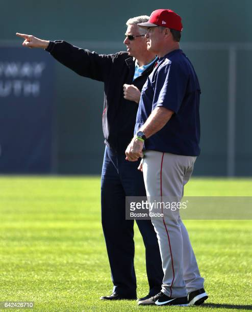 Boston Red Sox President of Baseball Operations David Dombrowski and Boston Red Sox manager John Farrell are pictured during day five of Red Sox...