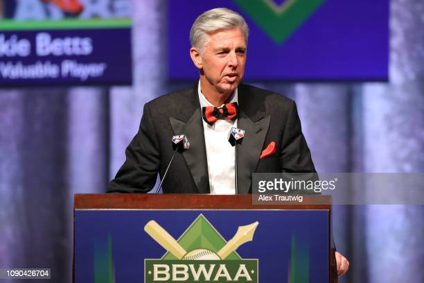 Boston Red Sox President of Baseball Operations David Dombrowski introduces American League MVP Mookie Betts of the Boston Red Sox during the 2019...