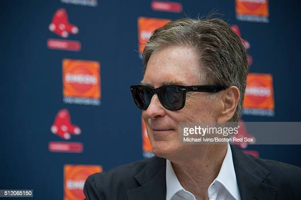 Boston Red Sox Principal Owner John Henry speaks with media following the teams first full team workout on February 24 2016 at Fenway South in Fort...