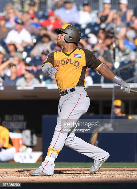 Boston Red Sox prospect Yoan Moncada of the World Team bats during the SiriusXM AllStar Futures Game at PETCO Park on July 10 2016 in San Diego...