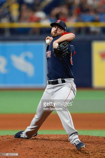 Boston Red Sox relief pitcher Colten Brewer delivers a pitch during the MLB game between the Boston Red Sox and Tampa Bay Rays on April 21 2019 at...