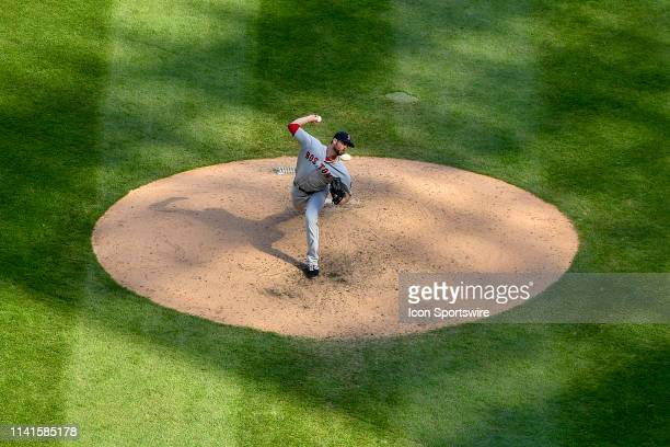 Boston Red Sox relief pitcher Colten Brewer delivers the ball in the ninth inning against the Chicago White Sox on May 5 2019 at Guaranteed Rate...
