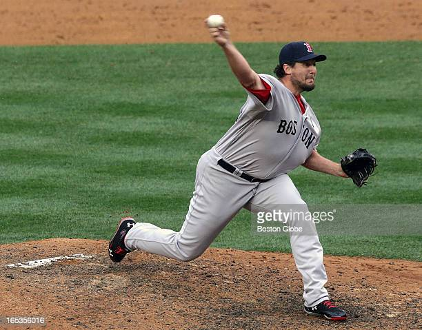 Boston Red Sox relief pitcher Joel Hanrahan finished off the ninth inning The Boston Red Sox play the New York Yankees at Yankee Stadium during...