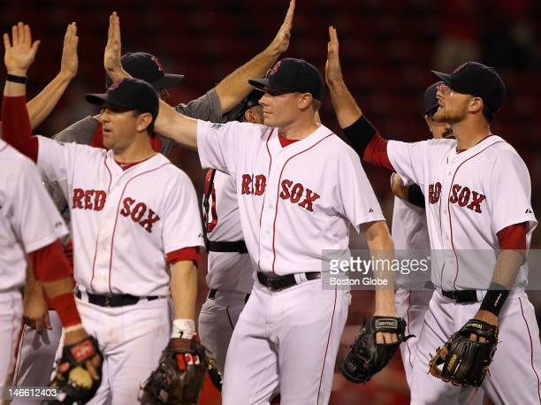 Boston Red Sox relief pitcher Mark Melancon joined the celebration after finishing up in the ninth inning as the Boston Red Sox took on the Miami...