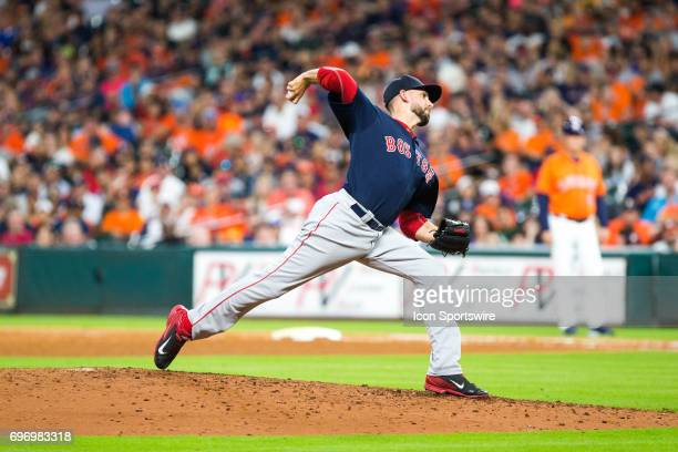 Boston Red Sox relief pitcher Matt Barnes delivers the pitch in the eighth inning of an MLB baseball game between the Houston Astros and the Boston...