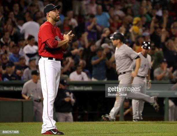 Boston Red Sox relief pitcher Matt Barnes gave up a two run dinger to New York Yankees third baseman Todd Frazier in the sixth inning The Boston Red...