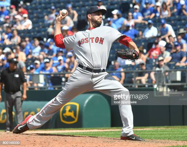 Boston Red Sox relief pitcher Matt Barnes pitches during a MLB game between the Boston Red Sox and the Kansas City Royals June 21 at Kauffman Stadium...