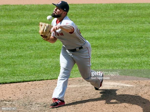 Boston Red Sox relief pitcher Matt Barnes pitches in the eighth inning against the Baltimore Orioles on June 4 2017 at Orioles Park at Camden Yards...