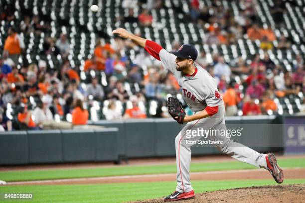 Boston Red Sox relief pitcher Matt Barnes pitches in the eleventh inning during an MLB game between the Boston Red Sox and the Baltimore Orioles on...