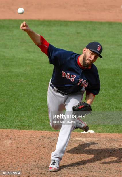Boston Red Sox relief pitcher Matt Barnes pitches in the ninth inning during the game between the Boston Red Sox and the Baltimore Orioles on August...