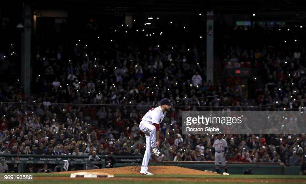 Boston Red Sox relief pitcher Matt Barnes watches a single to center field by Detroit Tigers first baseman Miguel Cabrera not pictured during the...