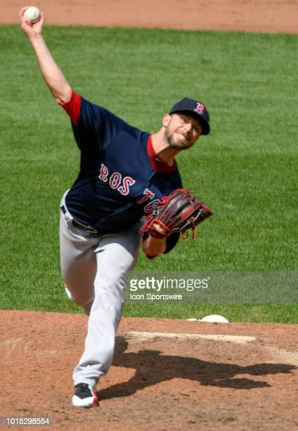 Boston Red Sox relief pitcher Tyler Thornburg pitches during the game between the Boston Red Sox and the Baltimore Orioles on August 11 at Orioles...