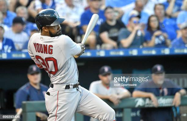 Boston Red Sox right fielder Chris Young hits a single in the fourth inning during a MLB game between the Boston Red Sox and the Kansas City Royals...