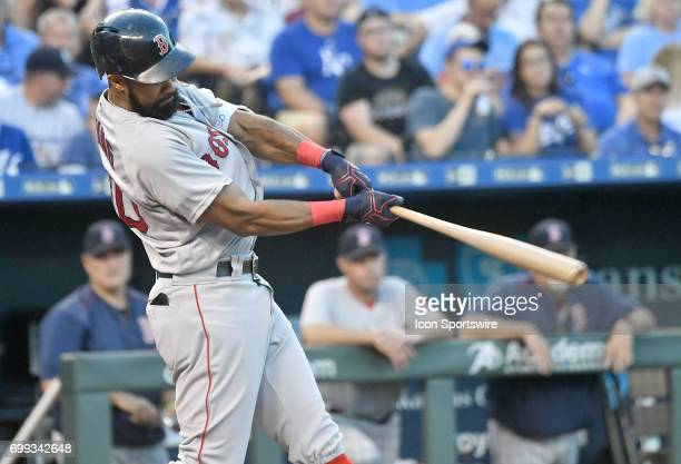 Boston Red Sox right fielder Chris Young singles in the fourth inning during a MLB game between the Boston Red Sox and the Kansas City Royals June 20...