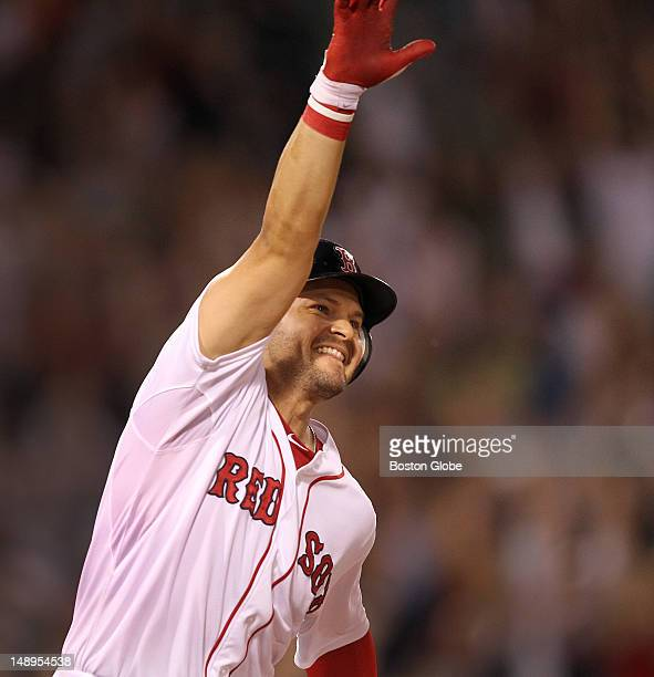 Boston Red Sox right fielder Cody Ross rounds first after hitting a game winning 3 run home run in the bottom of the ninth inning. The Boston Red Sox...