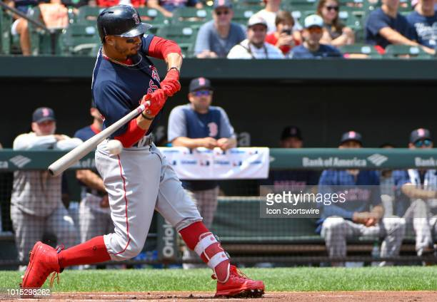 Boston Red Sox right fielder Mookie Betts at bat in the first inning during the game between the Boston Red Sox and the Baltimore Orioles on August...