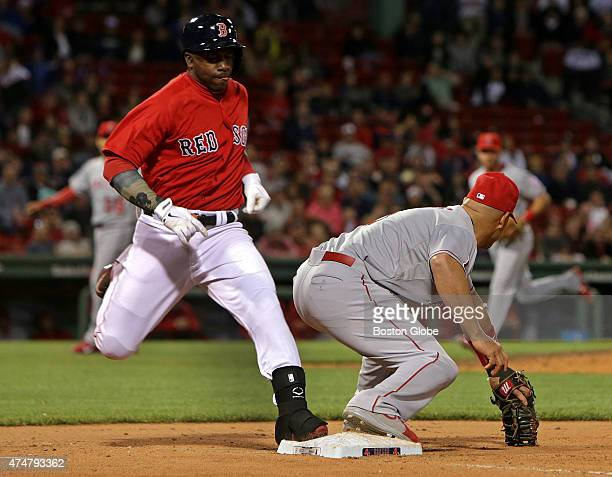 Boston Red Sox right fielder Rusney Castillo is called out on a close play at first base but after video review the call was upheld The Boston Red...