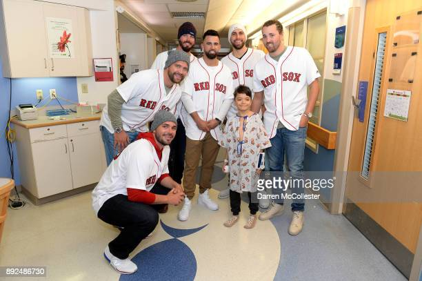 Boston Red Sox Robby Scott Brian Johnson Heath Hembree Devin Marrero Matt Barnes and Heath Hembree visit Omar at Boston Children's Hospital December...